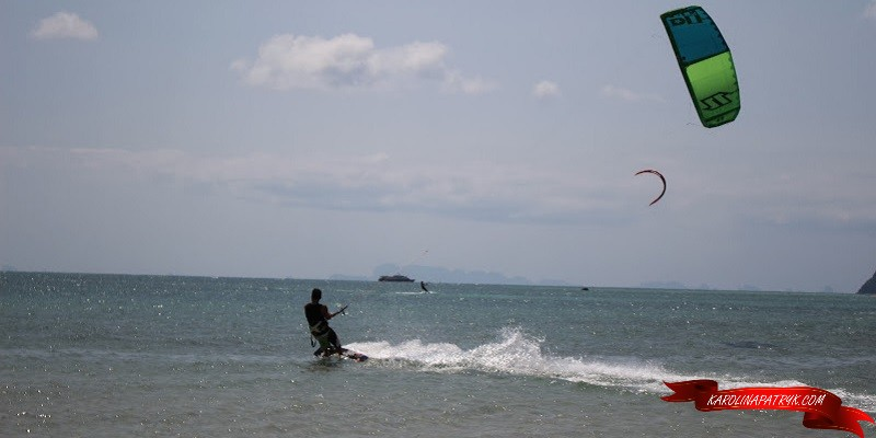 Kitesurfing on Koh Phangan island in Thailand