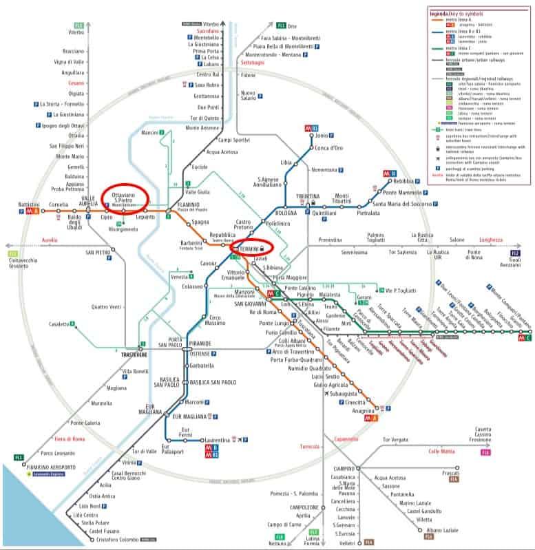 map of Rome metro subway