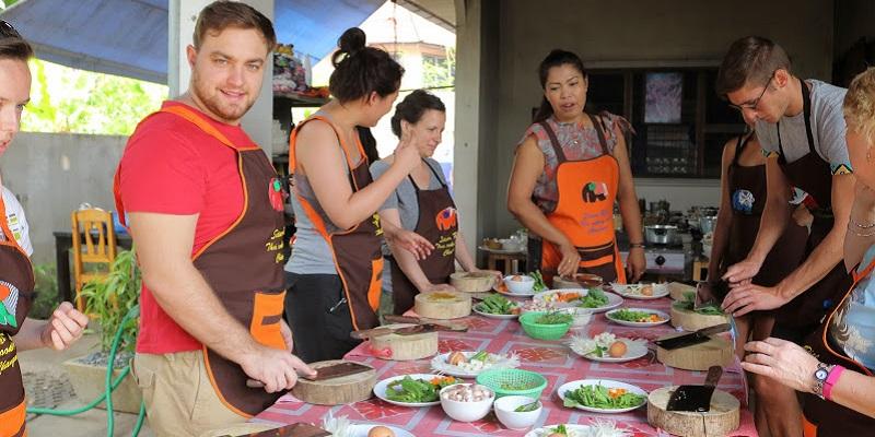 Preparing Thai food
