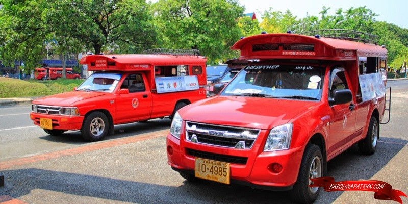 Songthaews red truck taxi in Chiang Mai