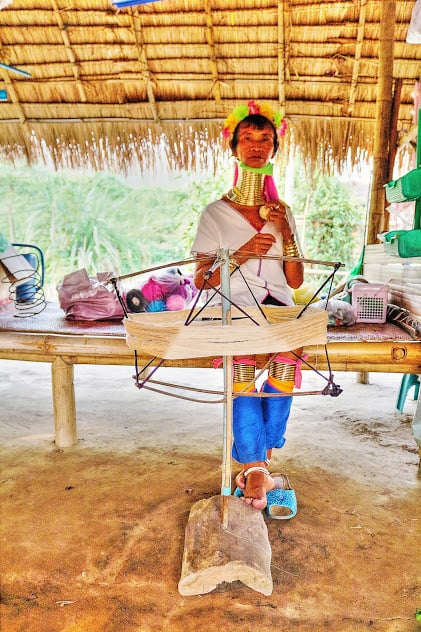 Kayan woman working