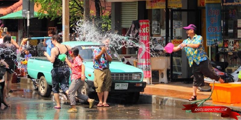Splashing water at Songkran Festival