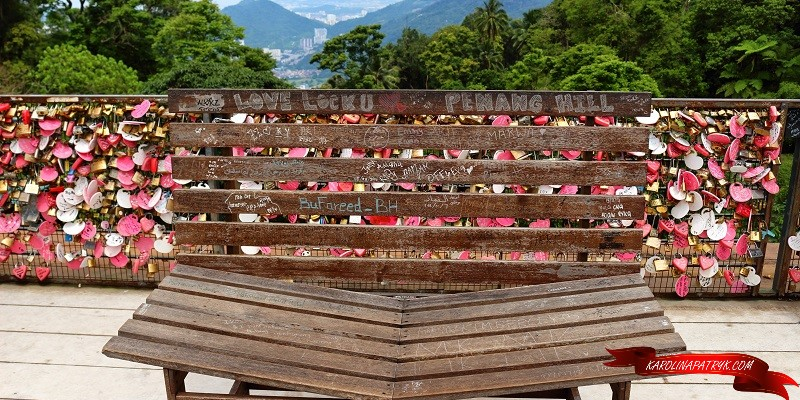 Love bench and padlocks at Penang hill
