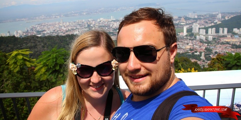 Karolina and Patryk with aerial view on Penang