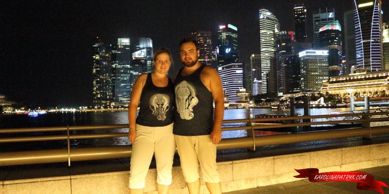 Karolina and Patryk in Singapore at night