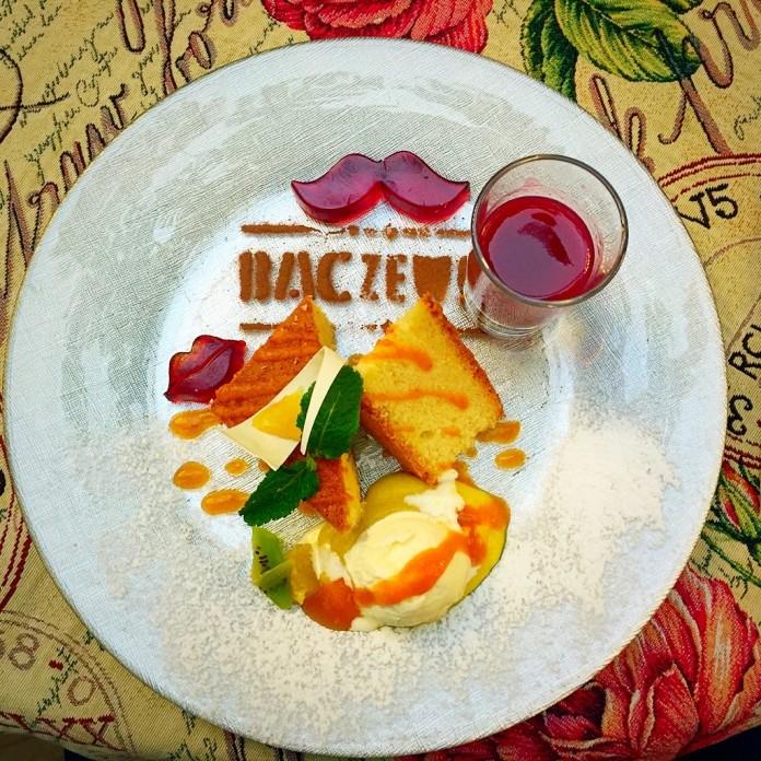 Delicious dessert in Baczewski restaurant in Lviv