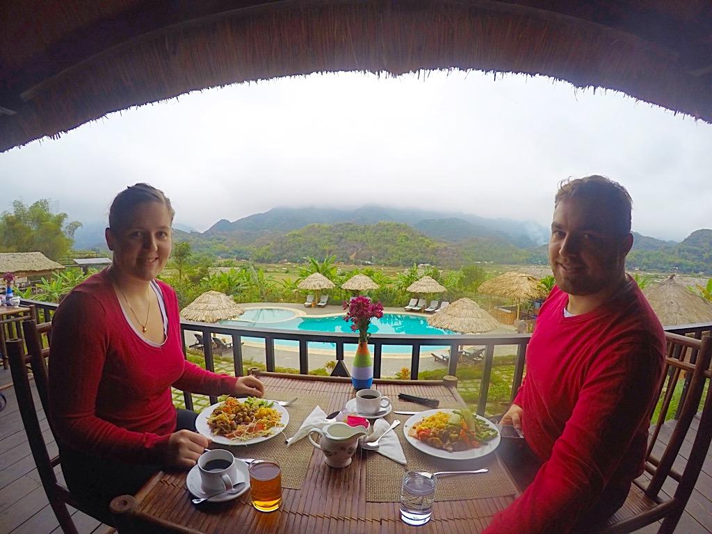 Eating breakfast in Mai Chau