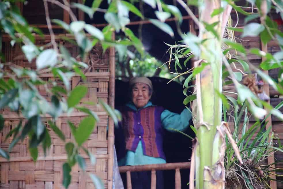 mai chau lady old vietnamese standing in the window