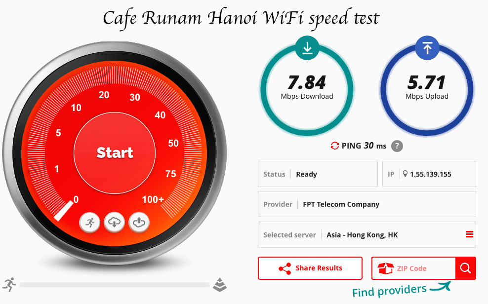 Cafe Runam speed test fast wifi Hanoi