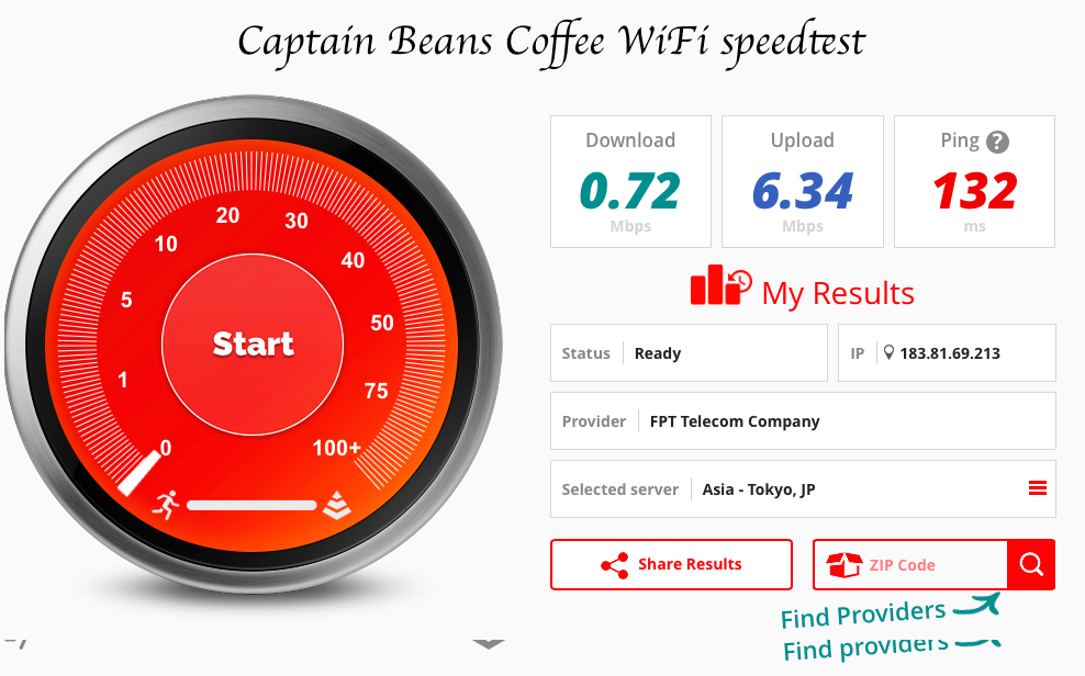 Captain beans coffee speed test fast wifi Hanoi