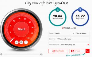 City view cafe speed test fast wifi Hanoi