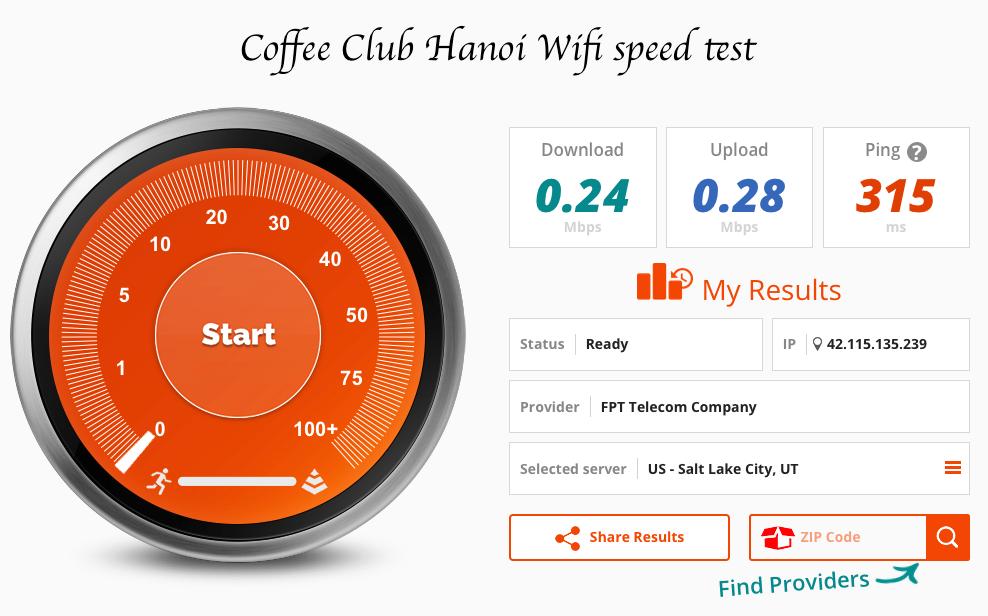 Coffee club Hanoi wifi speed test