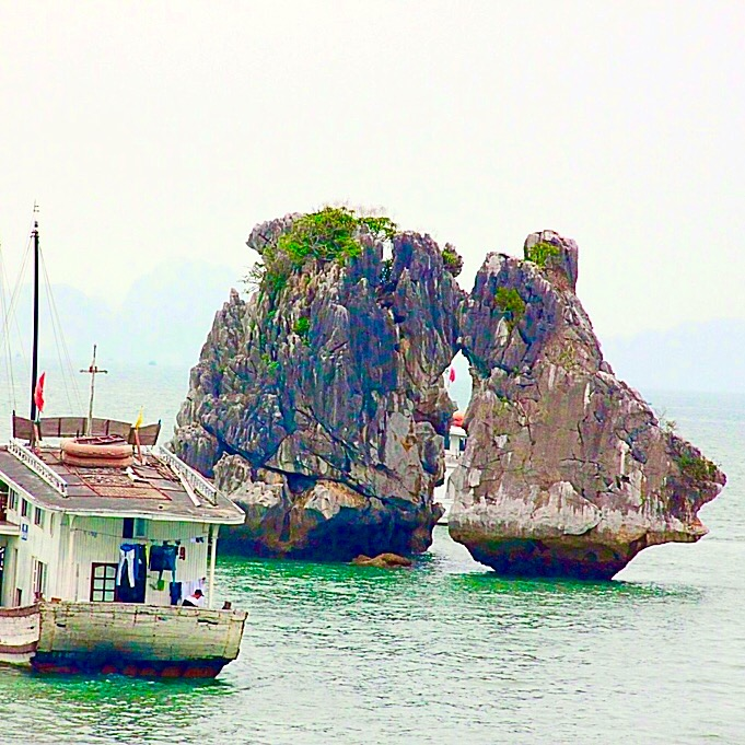 The kissing islands in Halong Bay