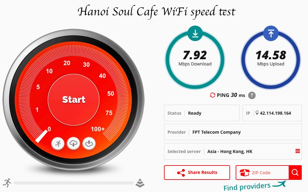 Hanoi Soul Cafe speed test fast wifi Hanoi