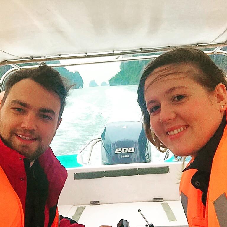 Karolina and Patryk on the speedboat