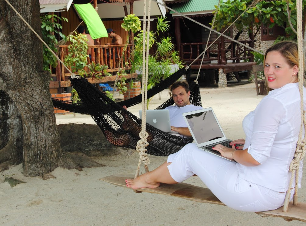 Working online on the beach