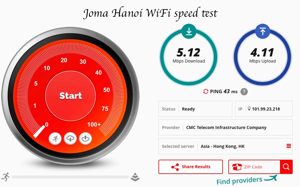 Joma speed test fast wifi Hanoi