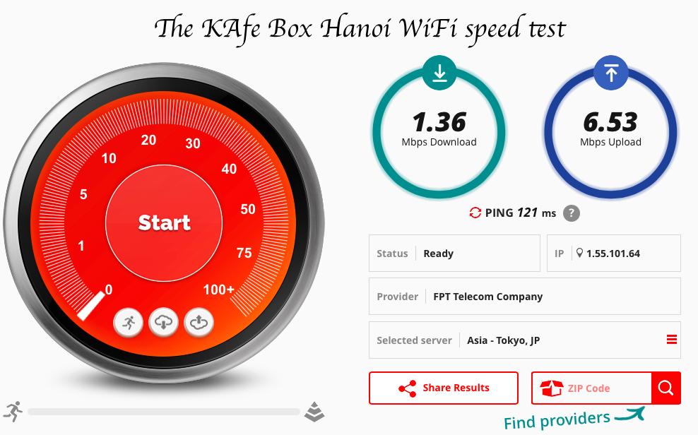 The KAfe box speed test fast wifi Hanoi
