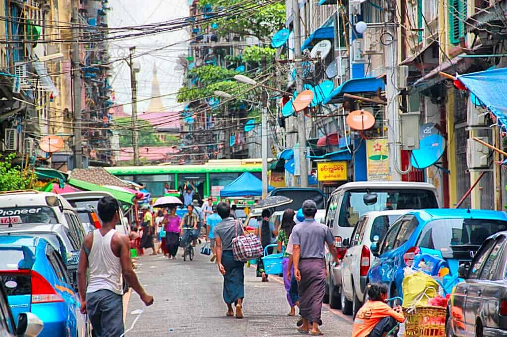 Visiting China town is one of the best things to do in Yangon Myanmar.