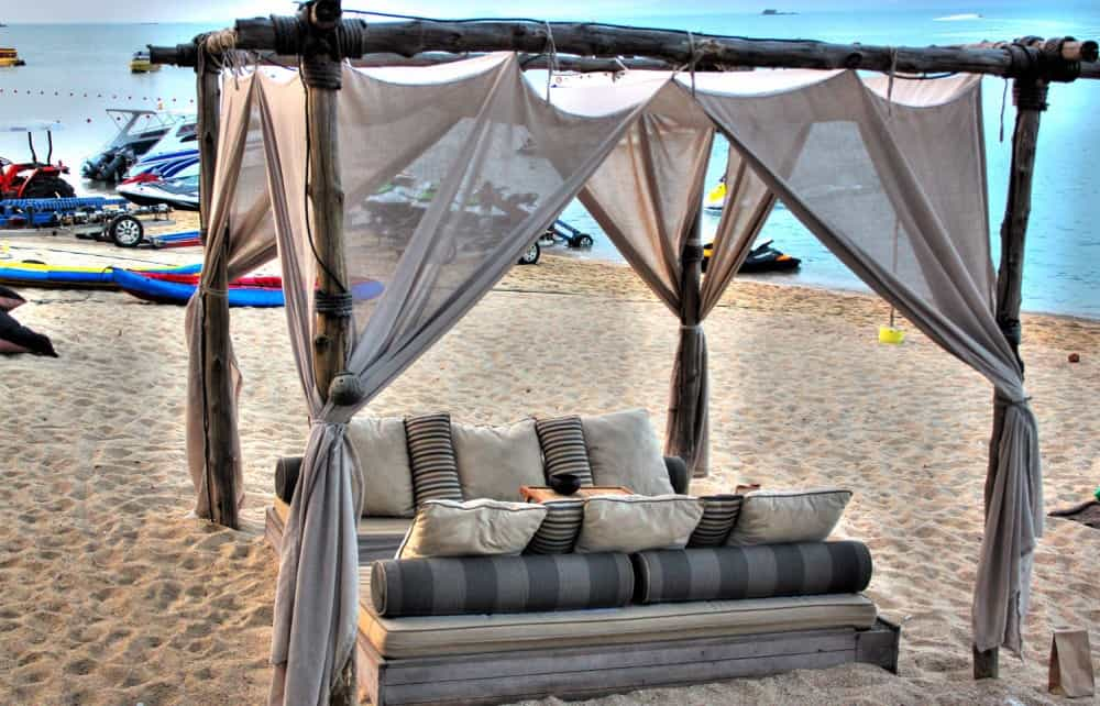 Bed on the beach at Koh Samui island