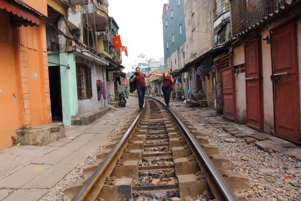 Hanoi's railway line between buildings