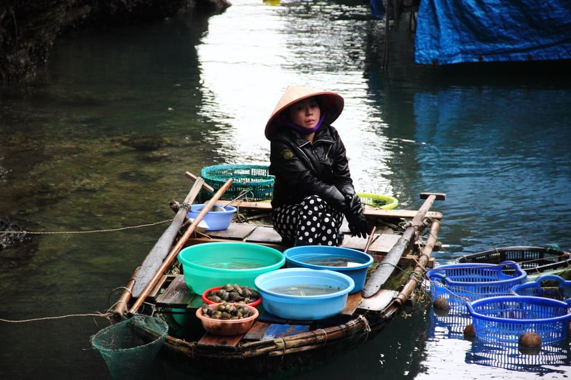 Local Vietnamese women on the boat