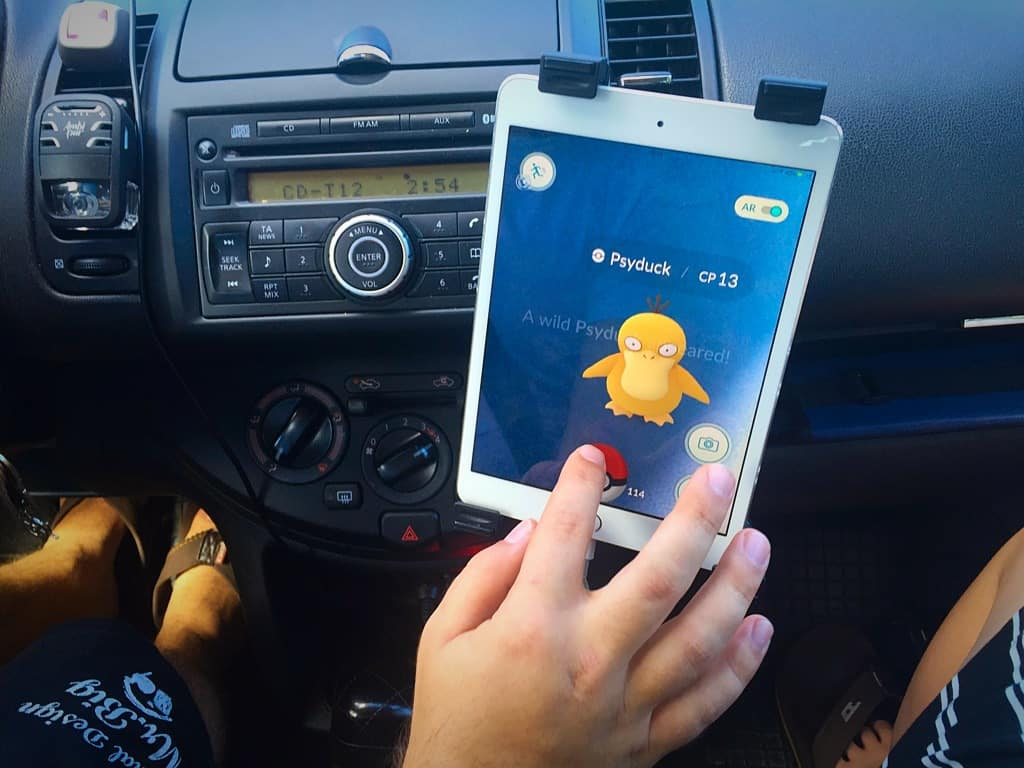 Playing Pokemon Go in the car