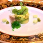 Avocado tartare with wasabi, red- veined sorrel and pea sprouts