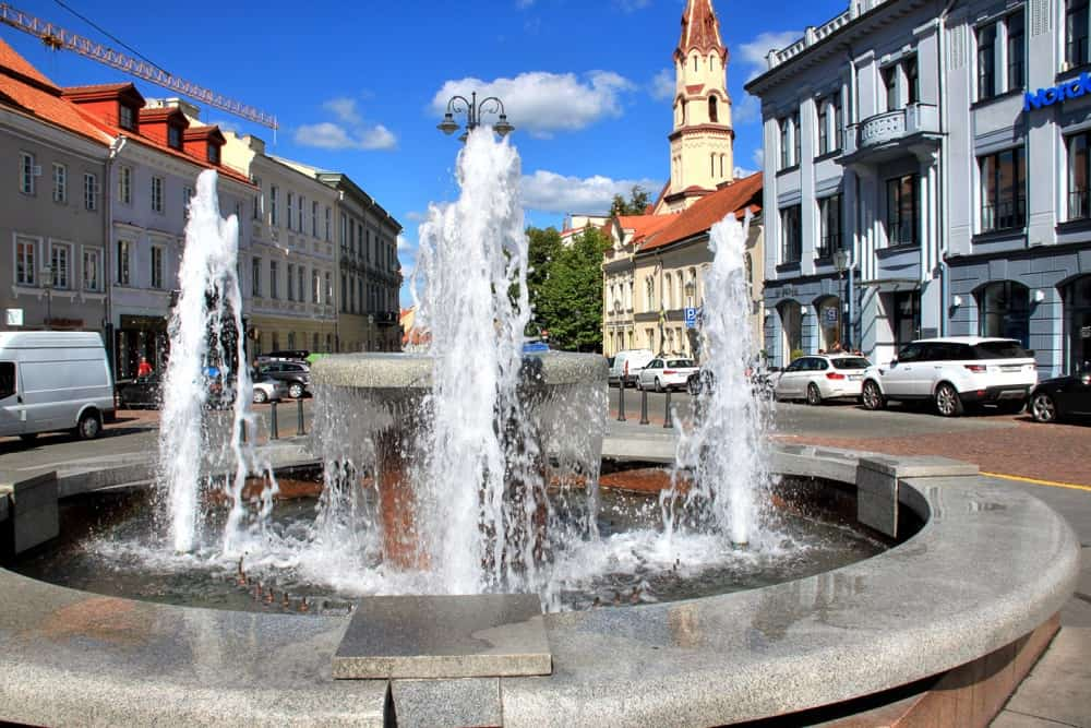 Fountain at Town Hall Square in Vilnius