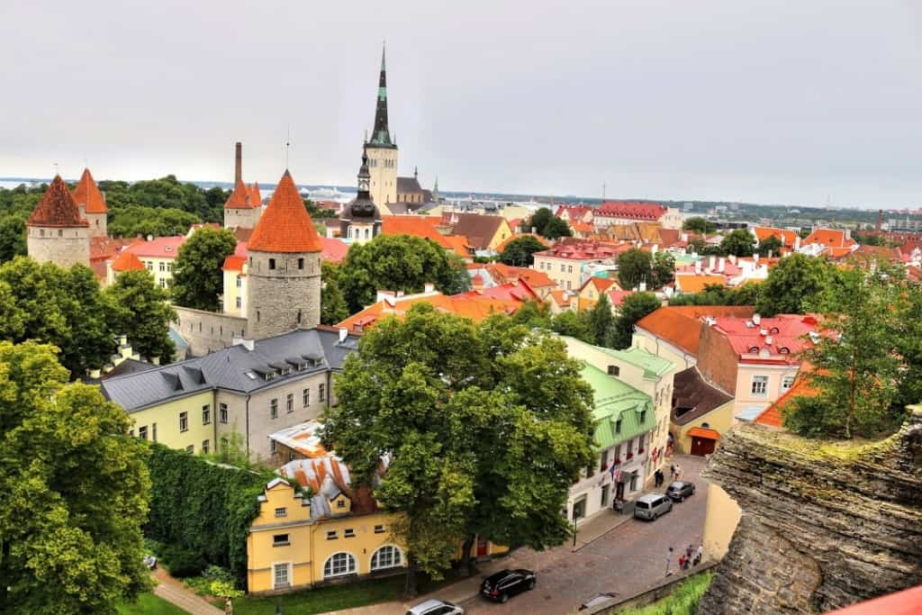Tallinn old town aerial view colorful