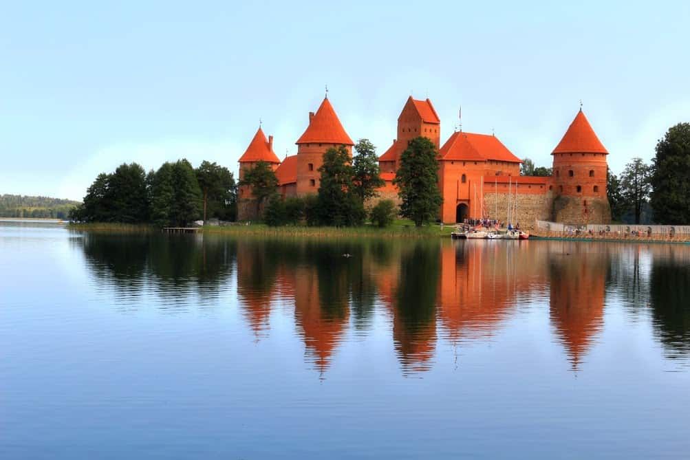 Trakai castle lake red