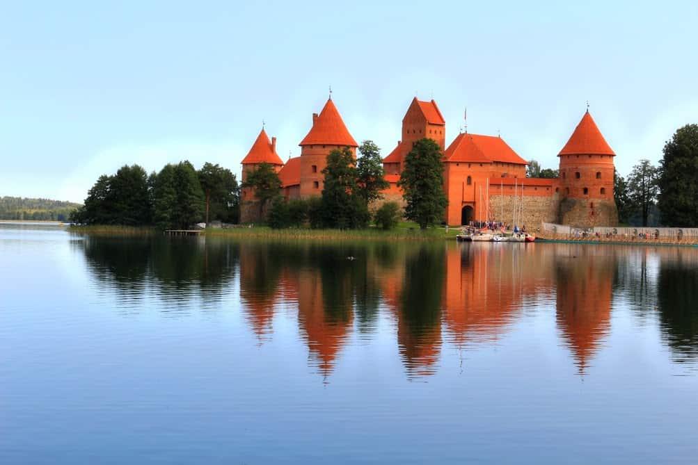 Trakai castle lake red