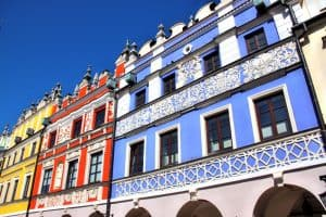 Colorful tenement houses in Zamosc