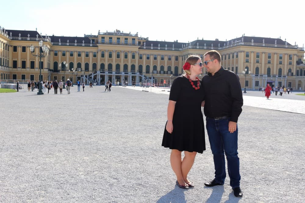 Karolina and Patryk in front of the Schonbrunn Palace Vienna