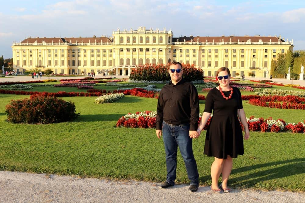 Karolina and Patryk in front of Schonbrunn Vienna