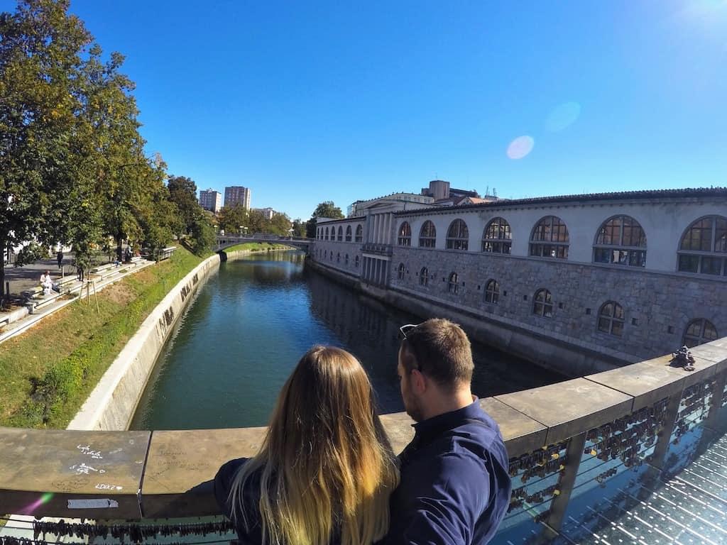 couple ljubljanica bridge slovenia