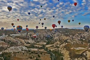 The hot air balloons of Cappadocia.