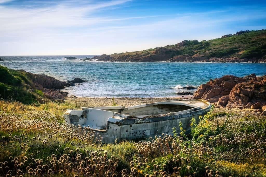 The coastline of Sardinia.