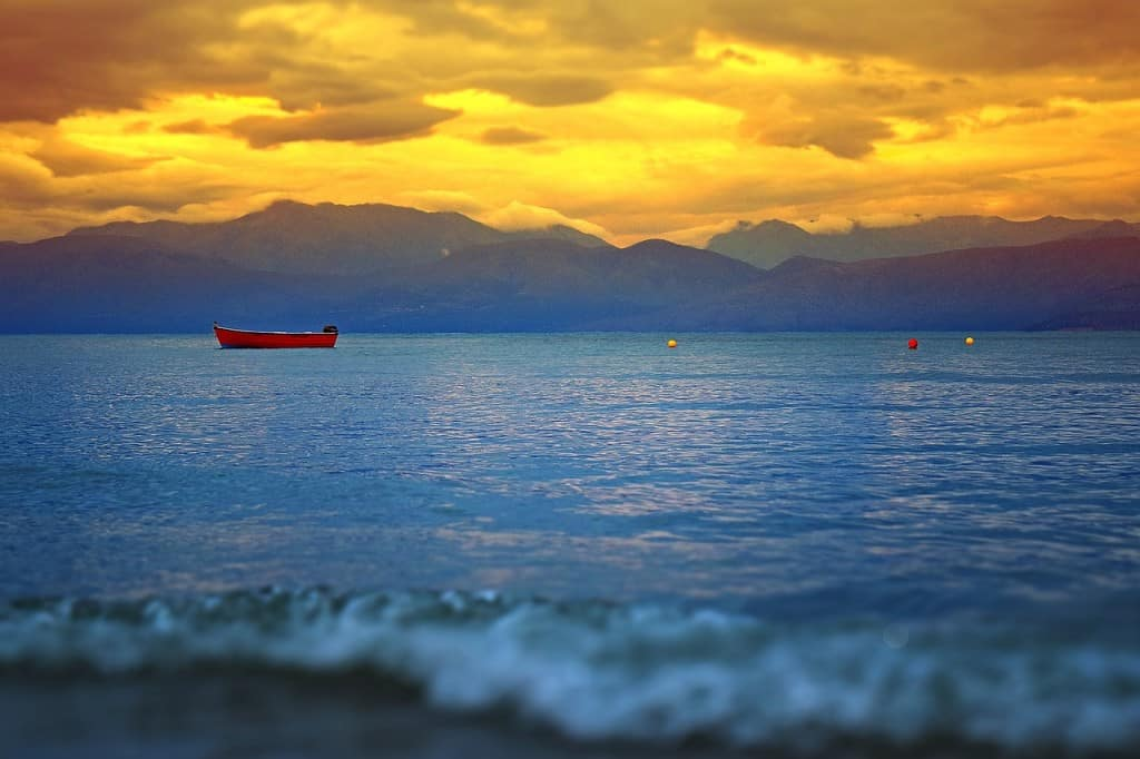 Sunset over the water in Corfu