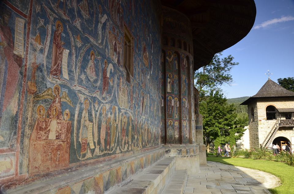 Beautiful frescoes at Voronet Monastery