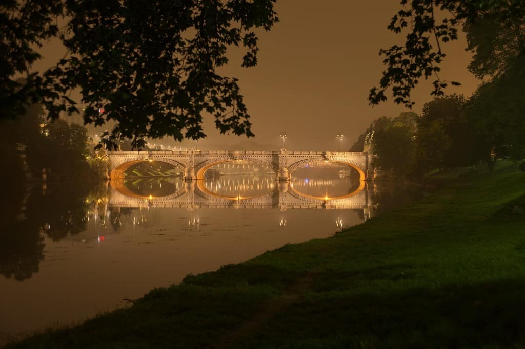 Romantic dusk over the Torino (Turin) bridge