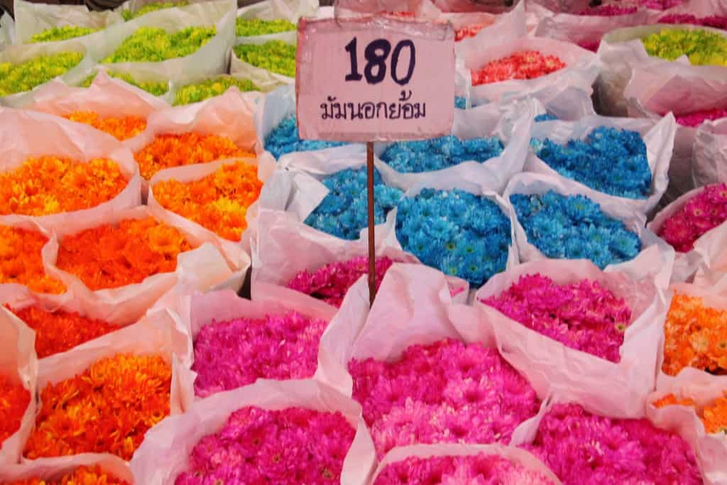flowers Bangkok price tag colors