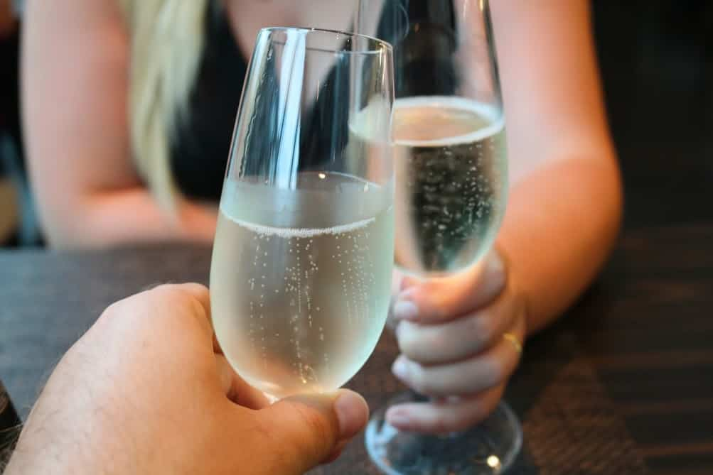 champagne romantic couple dinner