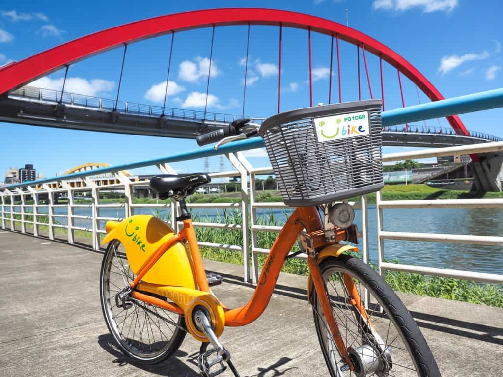 Rainbow Bridge Taipei Taiwan bicycle