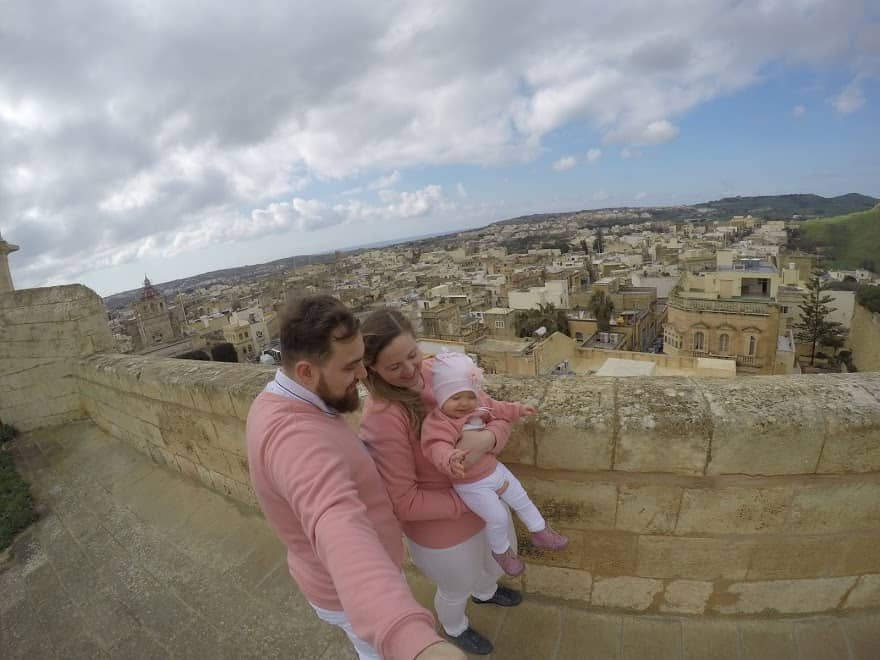 citadel Gozo family couple toddler view