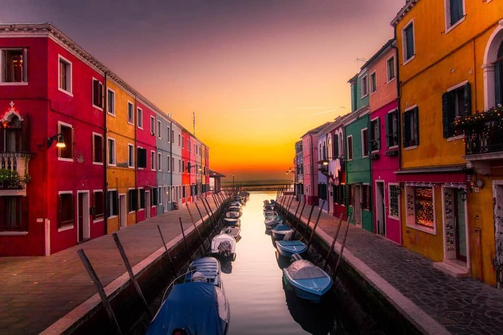 burn colorful Venice