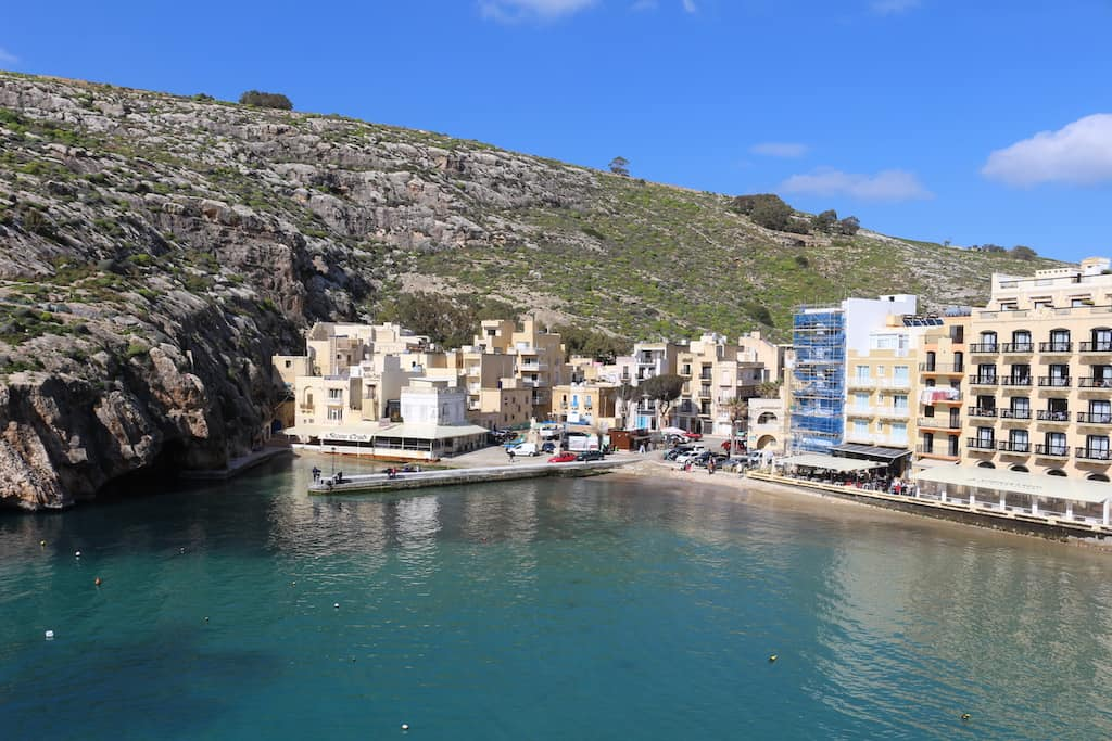Xlendi Cliffs and Beach aerial view