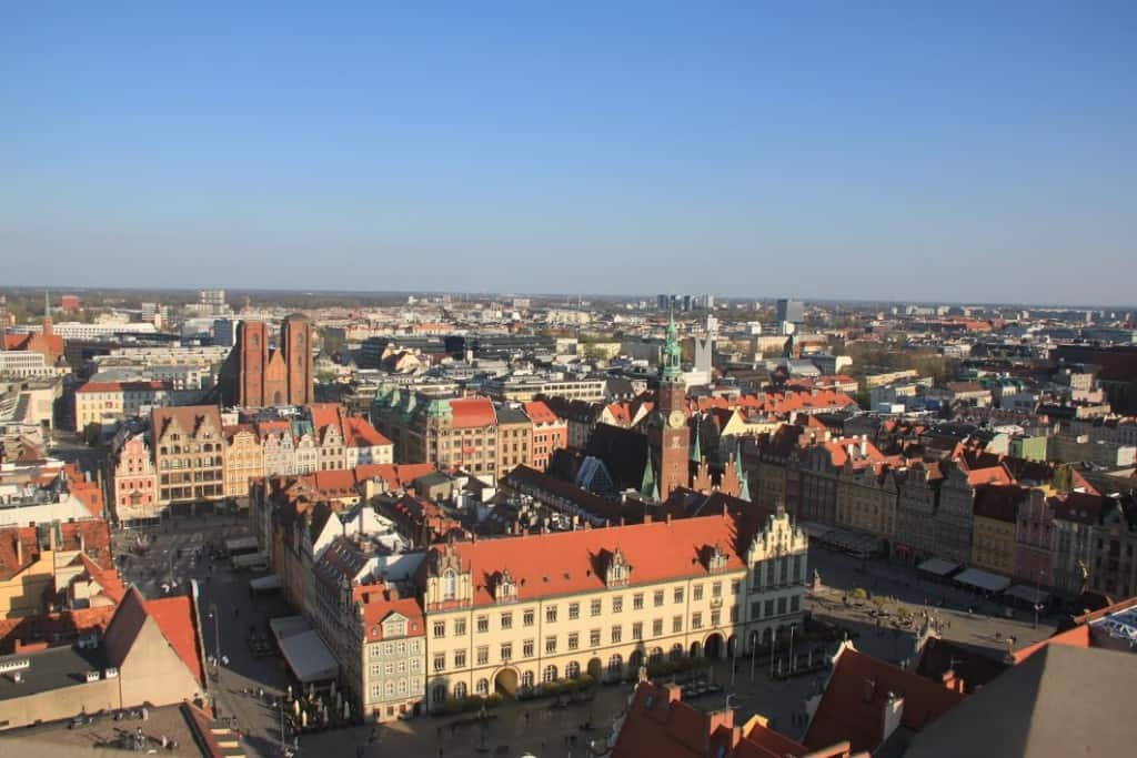 aerial view wroclaw old town